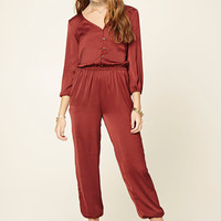 Satin Button-Front Jumpsuit