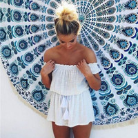 White Off Shoulder Drawstring Ruffled Romper