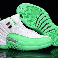 Air Jordan 12 GS Green White AJ 12 Women Basketball Shoe