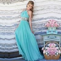 Hot Sale Brief Light Blue Sleeveless Round O-Neck Dress Women Long Sexy Party Ball Prom Gown Formal