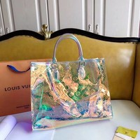 Louis Vuitton casual see-through embossed gradient shopping shoulder bag