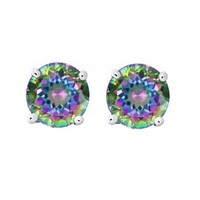Round Rainbow Peacock Topaz CZ Basket Set Silver Men Unisex Stud Earrings