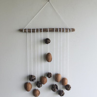 Walnut Wall Hanging/ Rustic Pine Cones Wall Decor/ Driftwood Hanging/ Rustic Mobile/ Natural Walnut Decor/ Rustic Home Decor/ Wall Hanging