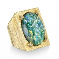 Green Opal Textured Cocktail Ring | Capwell