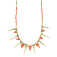 Enamel and Spikes Statement Necklace