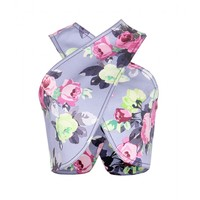 Carven CROPPED FLORAL-PRINT STRETCH-TWILL TOP