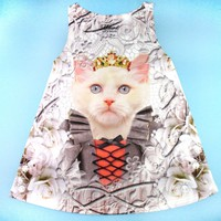 Fancy Cat with Crown and Victorian Dress Photoshopped Kitten All Over Print Tank Top