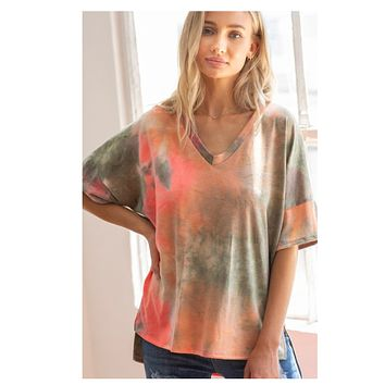 CLOSEOUT! Stunning Olive Coral Tie Dye V Neck Top