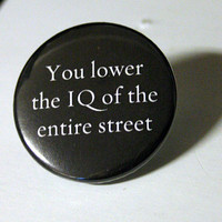 Lower the IQ 15 Sherlock PINBACK BUTTON by BayleafButtons on Etsy