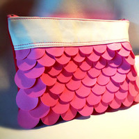 Faux Leather Clutch Purse Baby Pink and Pink Fuschia - The Mermaid