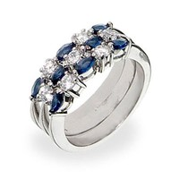 Silver-Tone Blue Stackable Ring Set