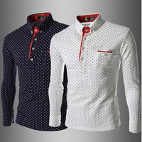 2015 New England summer dot printing lapel long-sleeved cotton shirts casual shirt men's urban fashion trend Hot