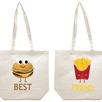 Burger and French Fries Best Friends Girl BFFS Canvas Tote Bag