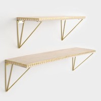 Whitewash Wood and Gold Mix & Match Wall Shelves