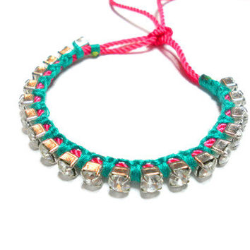 Hot neon pink emerald green floss crystals rhinestones friendship bracelets - silver plated gypsy boho indie hipster free people inspired