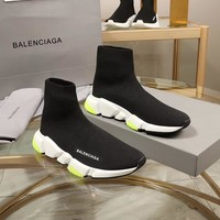 Balenciaga Speed Trainers Black With Tricolor Sole Sneakers - Best Deal Online