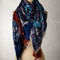 Gutata Square Scarf by Anthropologie Blue Motif One Size Scarves