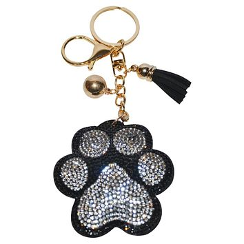 Paw Print Keychain for Women Dog Purse Charm Backpack Charm - White Paw