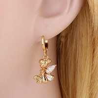 Pair of Faux Crystal Fairy Shape Drop Earrings - White