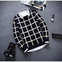 knitting Men's clothing high quality sweaters spring autumn winter luxury brand plaid man sweater fashion pullovers casual tops