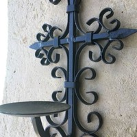 Wrought Iron Cross Wall Candle Holder French Medieval Sconce