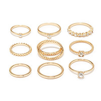 Mixed Rhinestone Midi Ring Set