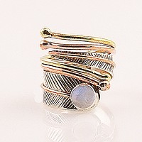 Moonstone Adjustable Three Tone Sterling Silver Wrap Ring