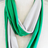 Slytherin Inspired Soft Jersey Infinity Scarf, Green and Silver Stretch Jersey Skinny Infinity Scarf, Hogwarts Scarf