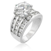 Classic Cubic Zirconia Engagement Ring - Wide Wedding Band - Anniversary Ring - Round Cut
