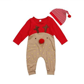 Emmababy New born Baby Boy Girl deer cartoon Christmas Rompers bebe kids cotton cute Clothes Romper Outfit +Hat