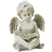 ONETOW 6.5' Decorative Sitting Cherub Angel Outdoor Garden Statue