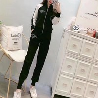 """Dior"" Women Casual Fashion Multicolor Long Sleeve Zip Cardigan Knitwear Trousers Set Two-Piece Sportswear"
