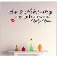 Smile Makeup Marilyn Monroe Quote Vinyl Wall Stickers Art Mural Home Decor Decal~lips gs482