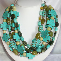 Green Jade Blue Turquoise Statement Necklace, Blue Cross Tibetan Silver Necklace, Green and Blue Magnesite Necklace, Statement Necklace