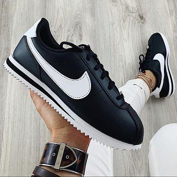 Nike Classic Cortez Forrest Sports Shoes Classic Shoes Leisure Sneakers Black(white hook)