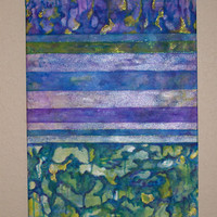 Abstract Painting, Original Mixed Media, Blues, Greens, Purple, Gold, 18 x 24 Inch Painting