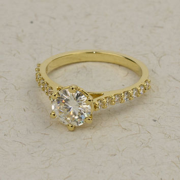 6 prong Moissanite Engagement Ring in 14k, 18k Yellow, White & Rose Solid Gold.