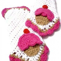 Crocheted cupcake Washclothes in cotton SET OF 2 | Crochetedlittlethings - Housewares on ArtFire
