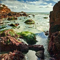 Tide Pools Beach Fine Art Original Photography Prints For Home Ocean landscape 8x12 matted to 12x16 Picture