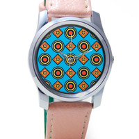 Abstract Circle Rings Pattern (Blue) Wrist Watch