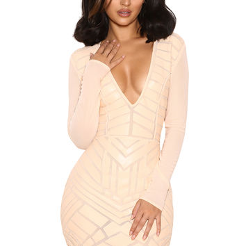 Clothing : Bodycon Dresses : 'Arisu' Nude Vegan Leather and Mesh Dress