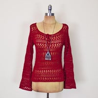 Vintage 90s Cranberry Red Crochet Sweater Sheer Crochet Top Open Knit Sweater Bell Sleeve Tunic 90s Grunge 70s Hippie Hippy Boho S Small