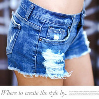 new spring 2014 fashion shorts women denim female shorts solid blue short Jeans hole Style short shorts