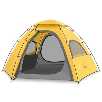 KAZOO Outdoor Camping Tent Family Durable Waterproof Camping Tents Easy Setup Two Person Tent Sun Shade 2/3 Person Yellow