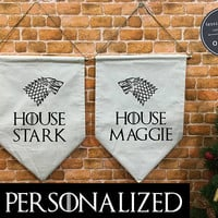 Personalized Game of Thrones  banner flag and hanging device, wedding decor , wall hanging decoration, Wedding gift