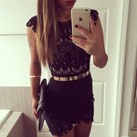 Fashion  Lace Bodycon Dress