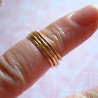 Shop Sale.. Gold Stack Ring, Knuckle Ring, Midi Ring, Above Knuckle Rings, 3 rings, 24k Gold Vermeil, Stackable Layering Rings, sr1-3