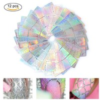 12 Sheets Hollow Stencil Sticker Nail Art Transfer Tips Template Stickers Bling Nail Art Tool  Rabdom Color FM88