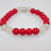 Red Howlite X White Quartz