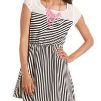 Chiffon Inset Striped A-Line Dress: Charlotte Russe